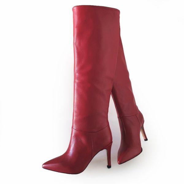 stivali ginocchio rosso